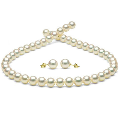 White Hanadama Akoya Pearl Jewelry Set, 8.5-9.0mm, 14K Yellow Gold
