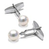 White Akoya Pearl Cufflinks, 8.0-8.5mm, 14K White Gold
