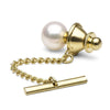 White Akoya Pearl Tie Tack, 8.5-9.0mm, Side View