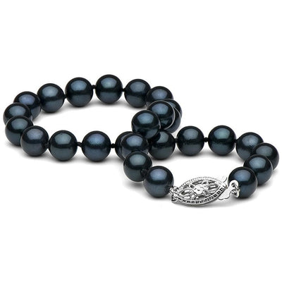 Black Akoya Pearl Bracelet 6.0-6.5mm, 14K White Gold