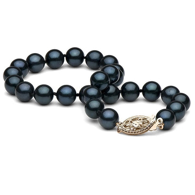 Black Akoya Pearl Bracelet 6.0-6.5mm, 14K Yellow Gold
