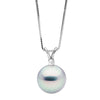 Blue Akoya Pearl and Diamond Radiance Pendant, Choose Sizes: 8.5-9.5mm, 14K White Gold Version