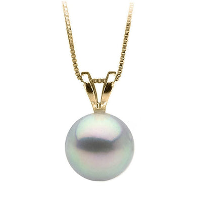 Blue Akoya Pearl Classic Solitaire Pendant, Choose Sizes: 8.5-9.5mm