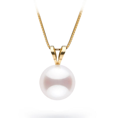 White Akoya Pearl Classic Solitaire Pendant, 8.0-8.5mm