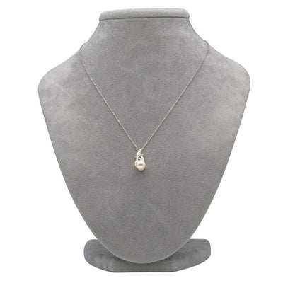 White Akoya Pearl and Diamond Aurora Pendant on Necklace Bust