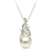 White Akoya Pearl and Diamond Aurora Pendant, 7.5-8.0mm, Choose Sterling Silver or 14K Gold