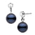 Black Akoya Pearl and Dainty Diamond Dangle Earrings, 6.5-7.0mm