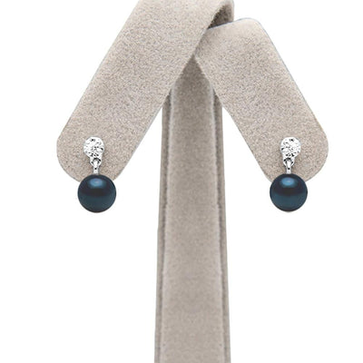 Black Akoya Pearl and Diamond Dangle Earrings, 6.0-6.5mm, on Earring Tree
