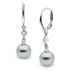 Blue Akoya Pearl and Diamond Aerie Dangle Earrings, Sizes: 8.5-9.5mm, 14K White Gold