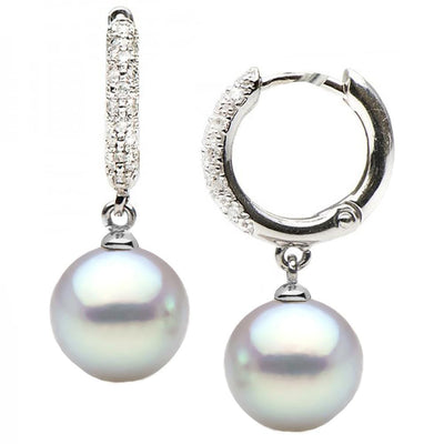 Blue Akoya Pearl and Large Diamond Pave Hoop Earrings, Choose Your Size, 14K White Gold Version