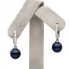 Black Akoya Pearl and Diamond Hoops, on Earring Tree