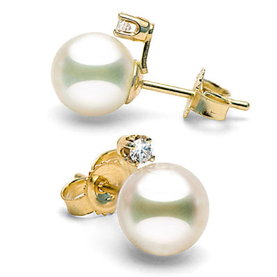 White Akoya Pearl and Diamond Radiance Earrings