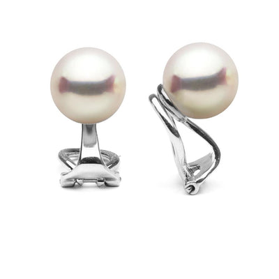 Akoya Pearl Clip-On Earrings, Sizes: 6.5-9.5mm, 14K White Gold