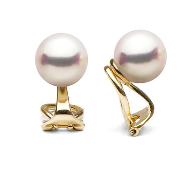 Akoya Pearl Clip-On Earrings, Sizes: 6.5-9.5mm, 14K Yellow Gold