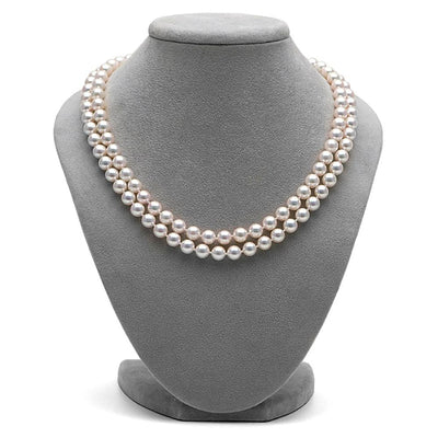 White Akoya Double Strand Pearl Necklace, 6.5-7.0mm on Necklace Bust