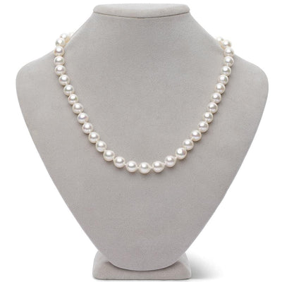 Free Form Baroque White Akoya Pearl Necklace, 8.5-9.0mm, 18-Inch Version on Bust