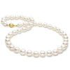 Free Form Baroque White Akoya Pearl Necklace, 8.5-9.0mm, 14K Yellow Gold, Matte Finish  Shown