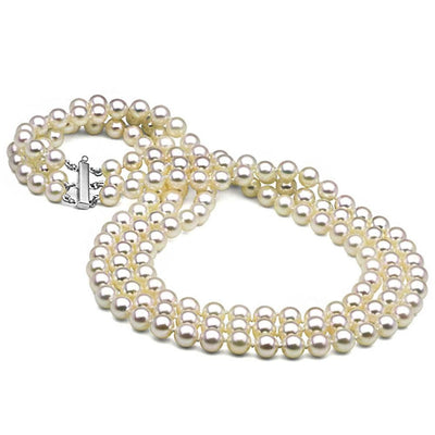 White Akoya Triple Strand Pearl Necklace, 6.5-7.0mm, 14K White Gold