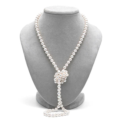 White Akoya Opera Length Pearl Necklace, 6.0-6.5mm on Necklace Bust