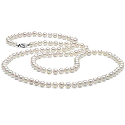 White Akoya Opera Length Pearl Necklace, 6.0-6.5mm 14K White Gold