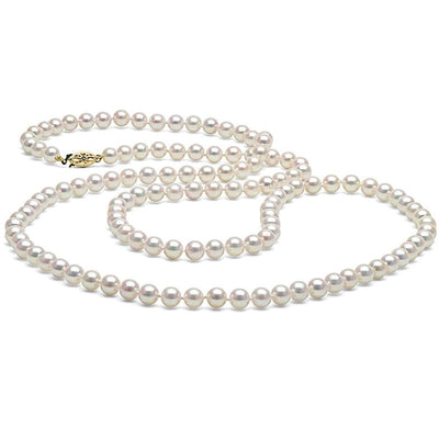White Akoya Opera Length Pearl Necklace, 6.0-6.5mm