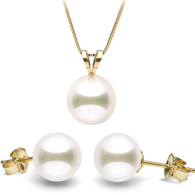 White Japanese Akoya Pearl Solitaire Pendant and Classic Stud Earring Set