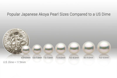Popular Akoya Pearl Sizes Compared to US Dime