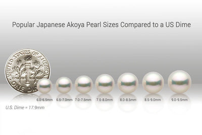 Popular Akoya Pearl Sizes vs US Dime