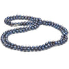 Black Freshwater Pearl Rope 52-Inches, 7.5-8.0mm, 14K White Gold