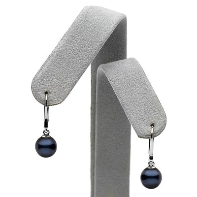 Black Akoya Pearl Dangle Earrings, Sizes: 6.5-8.0mm, on Earring Tree