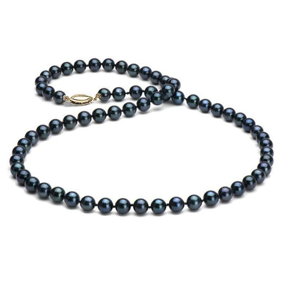 Black Akoya Pearl Necklace, 6.5-7.0mm, 14K Yellow Gold