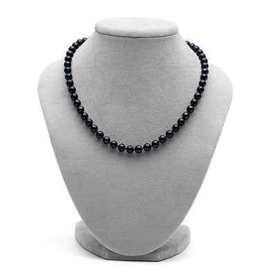 Black Akoya Pearl Necklace, 6.5-7.0mm on Necklace Bust
