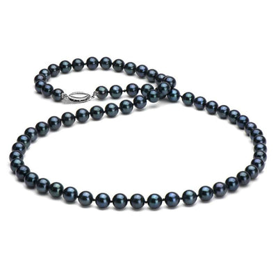 Black Akoya Pearl Necklace, 6.5-7.0mm,  14K White Gold