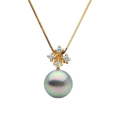 Blue Akoya Pearl and Diamond Elsa Pendant, Sizes: 8.0-9.5mm, 14K Yellow Gold Version