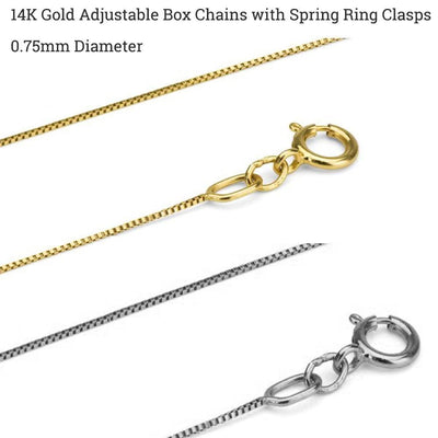 14K Gold Adjustable Box Chains - Choose White or Yellow Gold