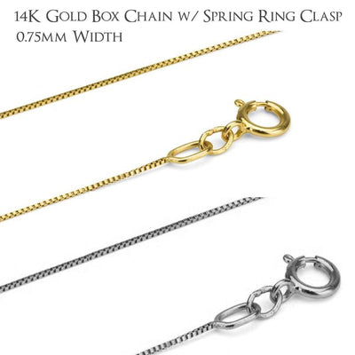 14K Gold Box Chains - Choose White or Yellow Gold