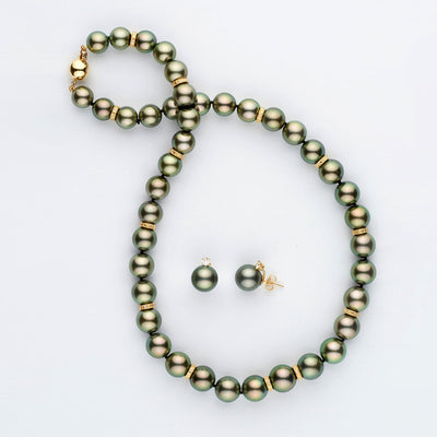 Round Tahitian Pearl and Diamond Rondelle Necklace and Earring Set