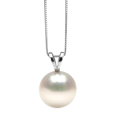 White Elite Collection Freshwater Pearl Solitaire Pendant, 10.5-11.0mm, 14K White Gold Version