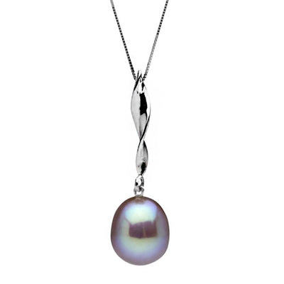 Metallic Lavender Freshwater Drop-Shape Pearl Icicle Pendant, 11.0-12.0mm, Sterling Silver or 14K White Gold Version Shown