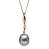 Metallic Lavender Freshwater Drop-Shape Pearl Icicle Pendant, 11.0-12.0mm, 14K Yellow Gold Version