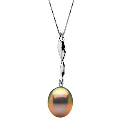 Metallic Pink-Peach Freshwater Drop-Shape Pearl Icicle Pendant, 11.0-12.0mm, Sterling Silver or 14K White Gold Version Shown
