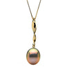 Metallic Pink-Peach Freshwater Drop-Shape Pearl Icicle Pendant, 11.0-12.0mm, 14K Yellow Gold Version