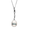Metallic White Freshwater Drop-Shape Pearl Icicle Pendant, 10.5-11.0mm, Sterling Silver or 14K White Gold Version Shown