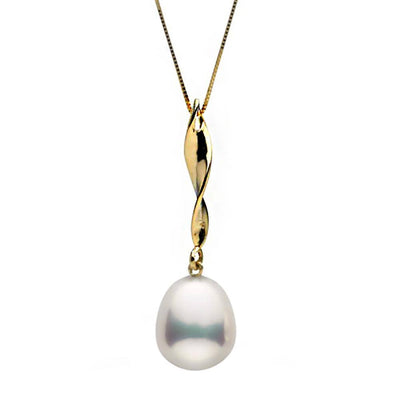 Metallic White Freshwater Drop-Shape Pearl Icicle Pendant, 10.5-11.0mm, 14K Yellow Gold