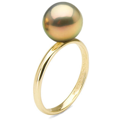 Metallic Peach Freshwater Pearl Solitaire Ring, 10.5-11.0mm, 14K Gold