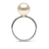 White Freshwater Pearl Solitaire Ring, 10.5-11.0mm, 14K White Gold Version, Side Image