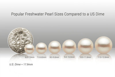Popular Freshwater Pearl Sizes vs US Dime
