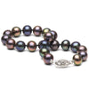 Black Freshwater Pearl Bracelet, 7.5-8.0mm, 14K White Gold