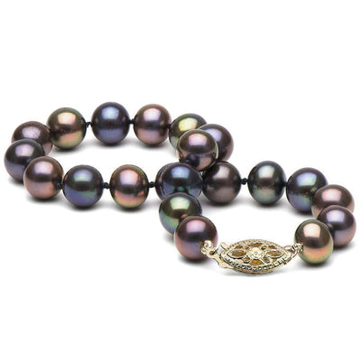 Black Freshwater Pearl Bracelet, 7.5-8.0mm, 14K Yellow Gold