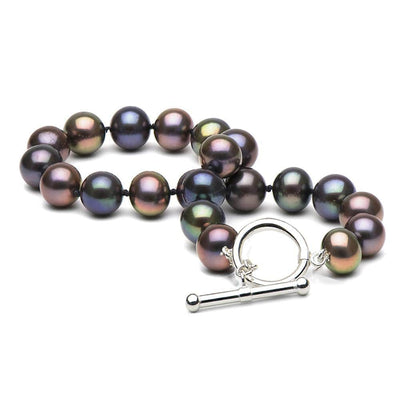 Black Freshwater Pearl Toggle Bracelet, 6.5-7.0mm, .925 Sterling Silver